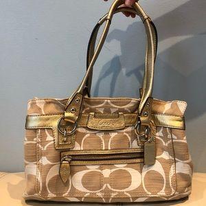 COACH Cream and Gold handbag